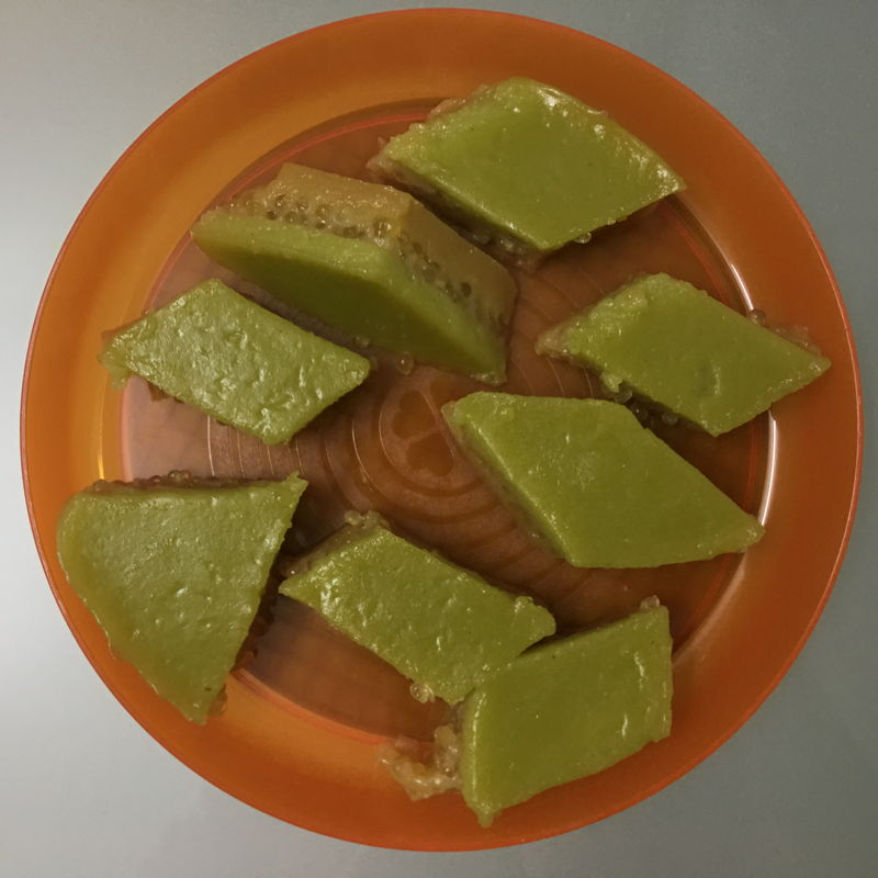 Nov 8th, 2019 - Sago and pandan layered cake/kuih talam sago/ 打南沙谷糕  A lot of melting and cooking. And it taste special with sago in it.
