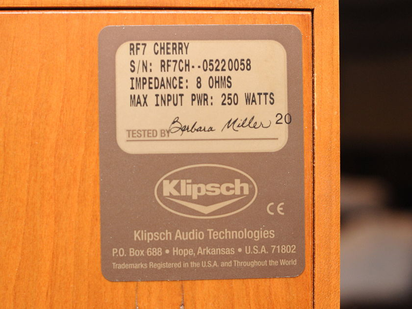 Klipsch RF-7 Cherry / Black Grill Real Nice