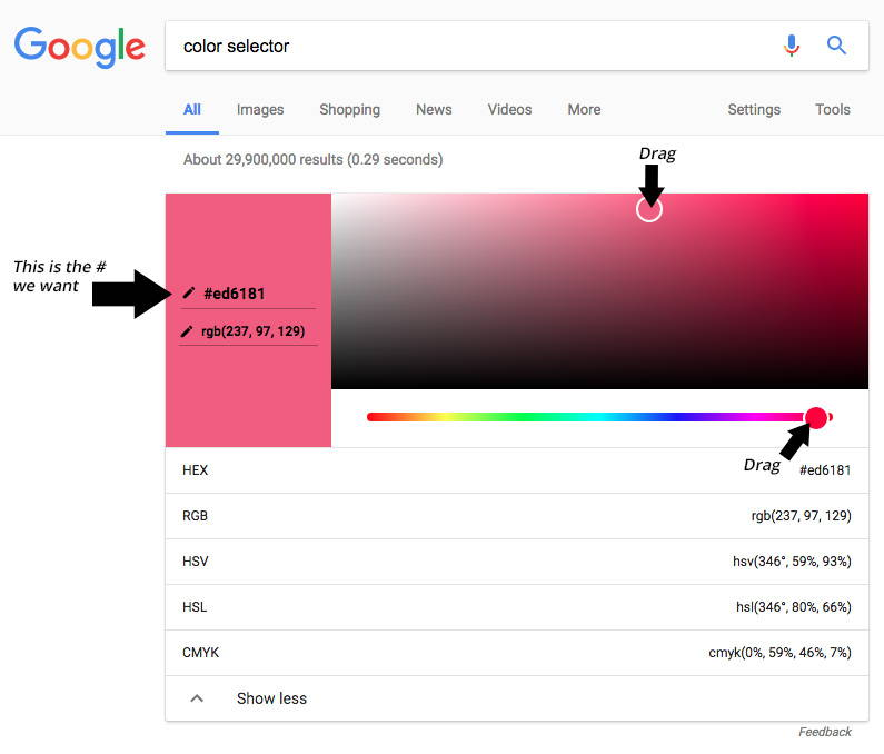 Get a custom color from Google!