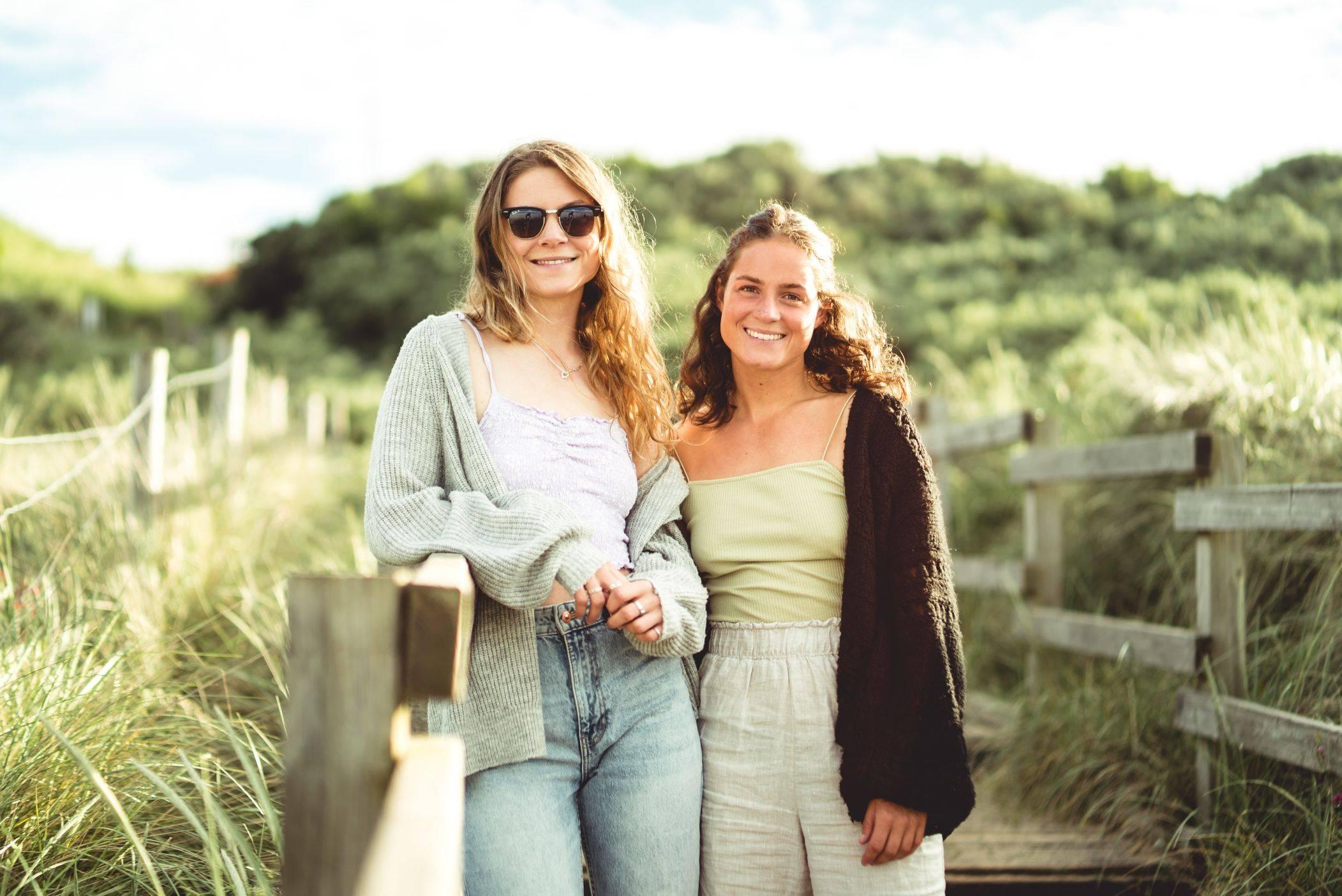 Chloe and Georgie On Beach