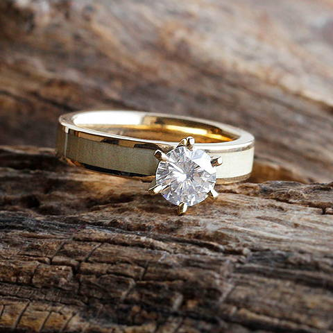 moissanite solitaire engagement ring yellow gold aspen wood