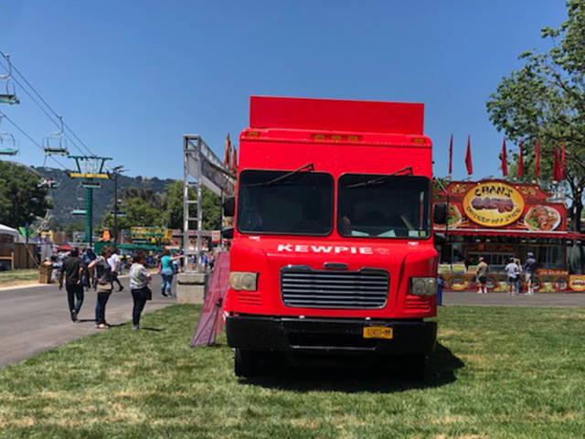 Kewpie food truck setting up at the Alameda County fair