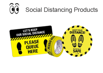 social distancing markings and stickers