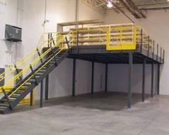 Free Standing Mezzanine Grey and Yellow Handrail
