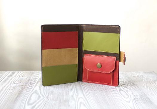 """Коричневое портмоне, холдер для паспорта, карт, банкнот и мелочи """"Весенний Вояж"""""""
