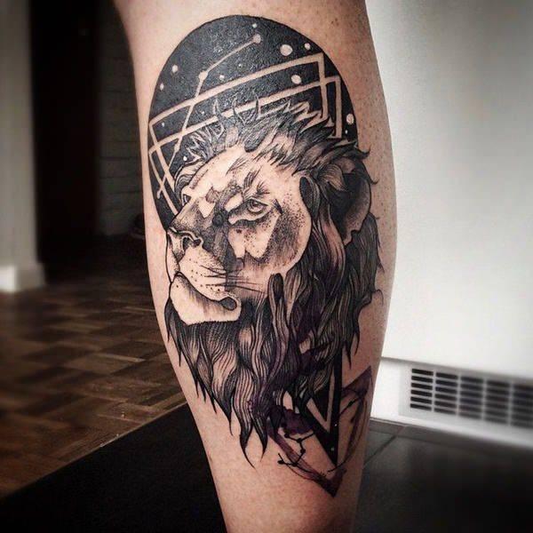 Tatouage Constellation Lion Design