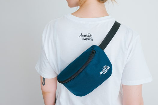 Синяя поясная сумка