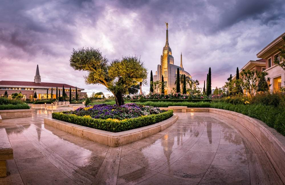 Photo of the reflective pavement leading up to the Rome, Italy Temple.