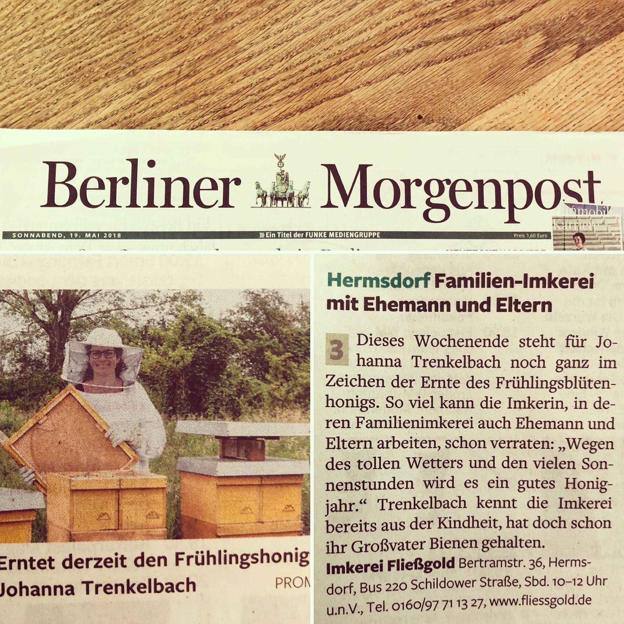 Artikel über die Bio-Imkerei Fließgold in der Berliner Morgenpost vom 19. Mai 2018