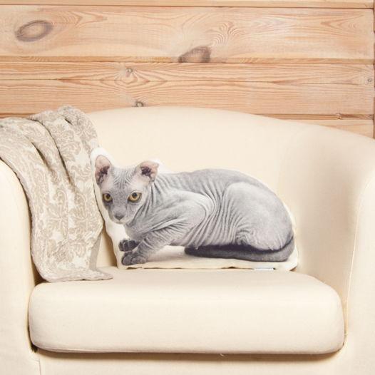 Подушка Сфинкс – льняная декоративная подушка в виде кошки