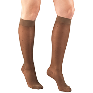 Ladies' Knee High Dot Pattern Sheer Stockings in Espresso