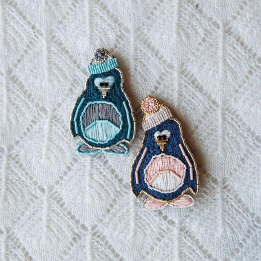 Брошь вышивка бисером «Пингвин»