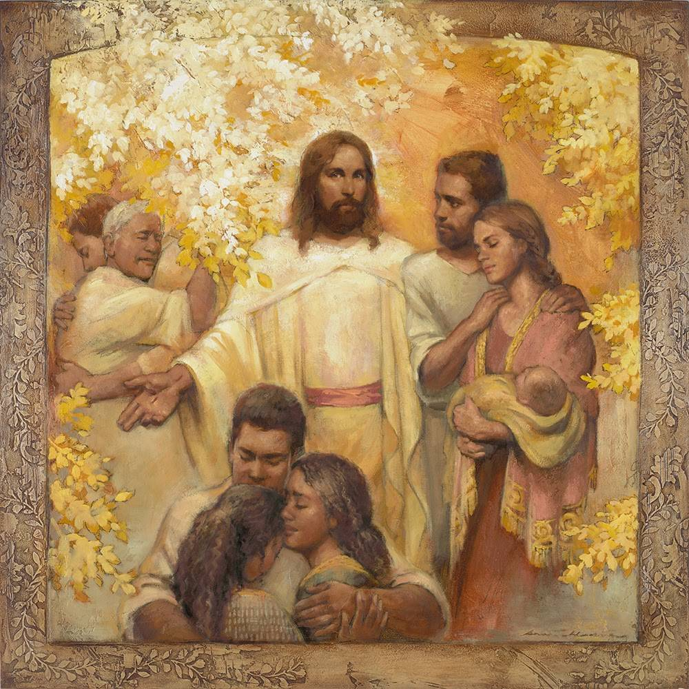 A painting of Christ standing among families reuniting at the resurrection.