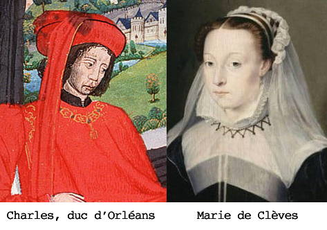 Montage of two old illustrations showing Charles, Duke of Orleans and Marie de Clèves side by side