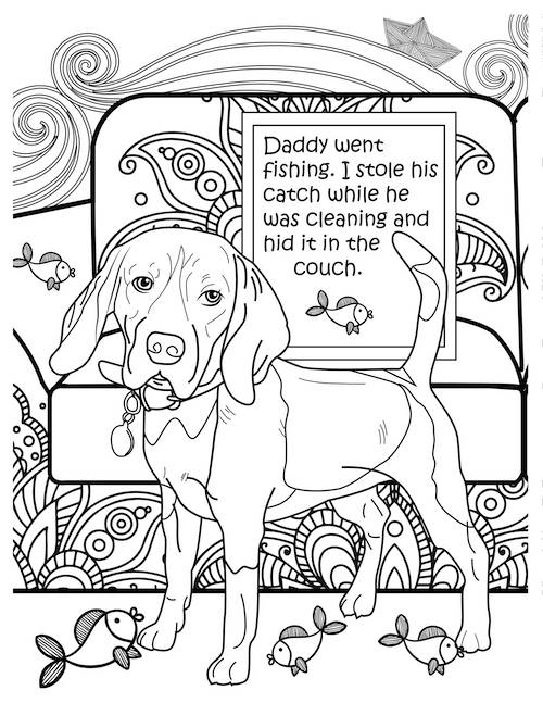 daddy went fishing dog coloring page