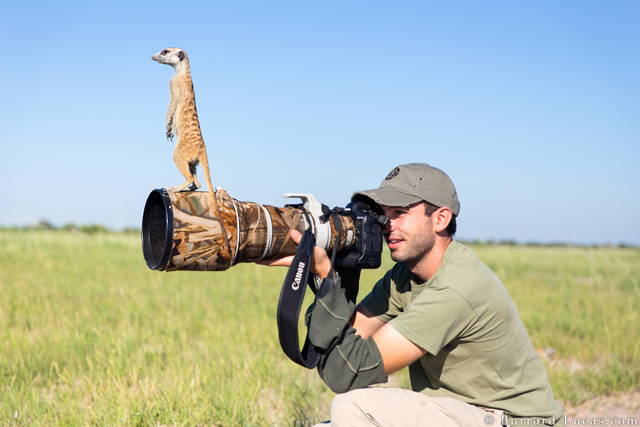 A rodent is standing on the camera of the photographer who is taking the picture