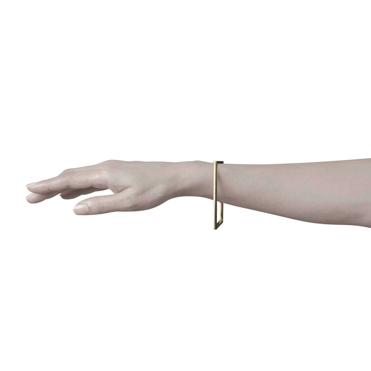 Square Bangle in Brass worn