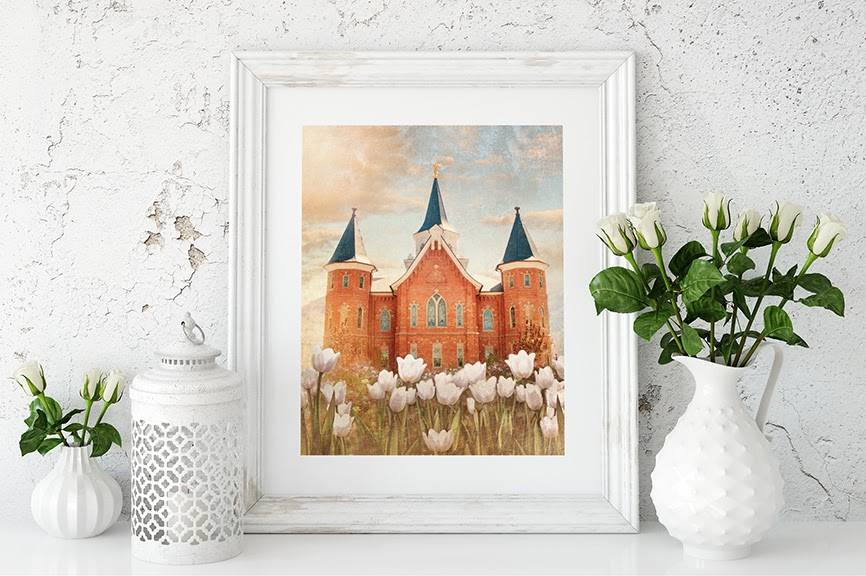 Provo City Center Temple painting placed among small milk glass items.