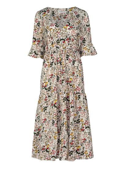 Платье с подчеркнутой линии талии и цветочным принтом