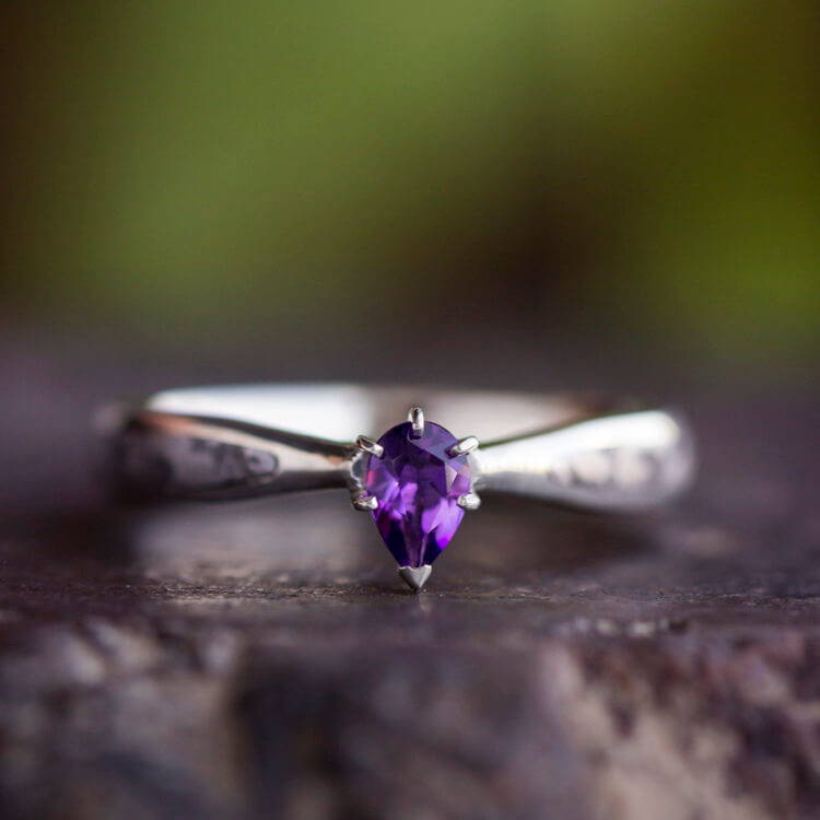 PURPLE AMETHYST ENGAGEMENT RING WITH SEYMCHAN METEORITE IN STERLING SILVER