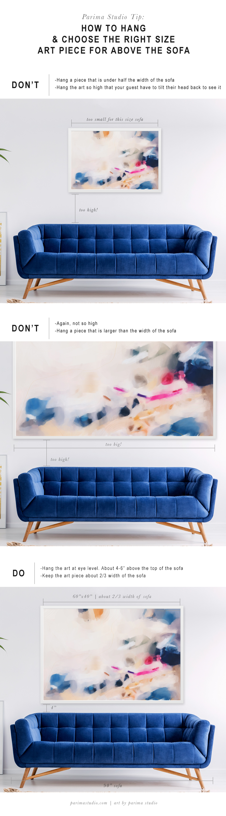 Parima Studio Tip: How to hang and choose the right size art piece for above your sofa