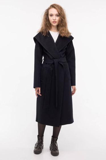 Пальто-халат с капюшоном темно-синее