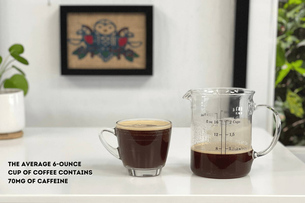 a 6-ounce cup of coffee and a ounce-based measuring cup