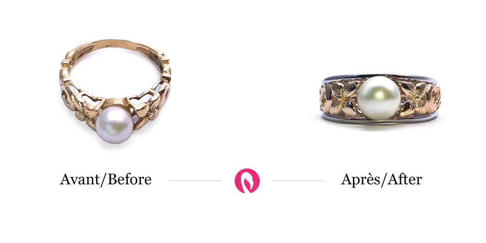 Transformation of a ring with a large pattern and pearl with the addition of a modern contour coating