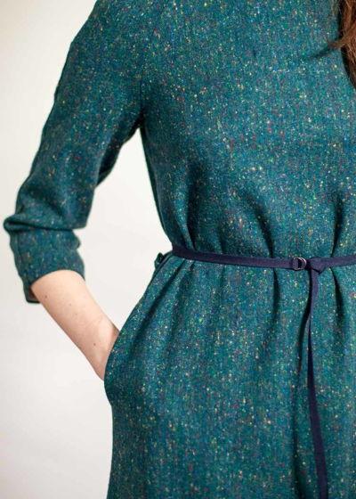 Изумрудное платье миди из шерсти