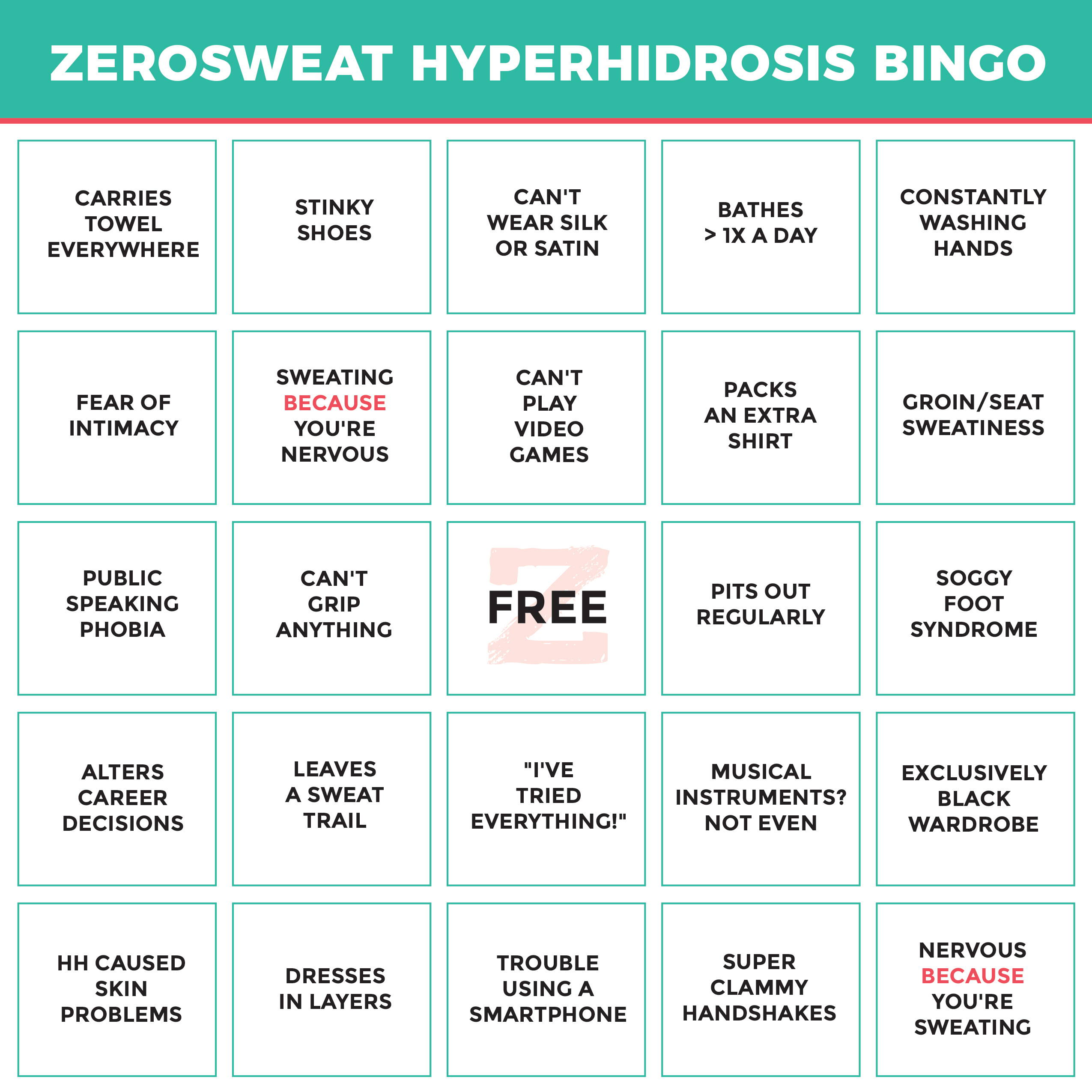 Hyperhidrosis Bingo 24 Things Hyperhidrosis Sufferers Deal With Daily Zerosweat