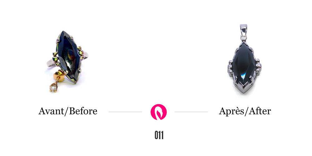 Transformation d'une bague avec hématite et d'une boucle d'oreilles avec diamant en un pendentif en or blanc avec l'hématite au centre et un diamant près de la bélière.