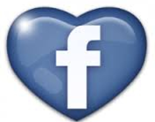 Facebook logo shaped like a heart