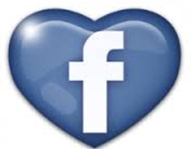 Facebook logo shaped like a heart