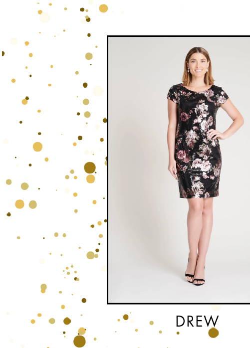 Shop Drew Black & Pink Floral Print Sequin Dress >
