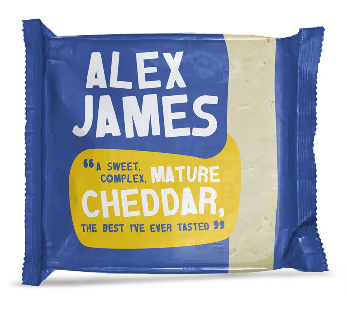 Alex James Cheese Packaging Design Dzinemafia Mature Cheddar