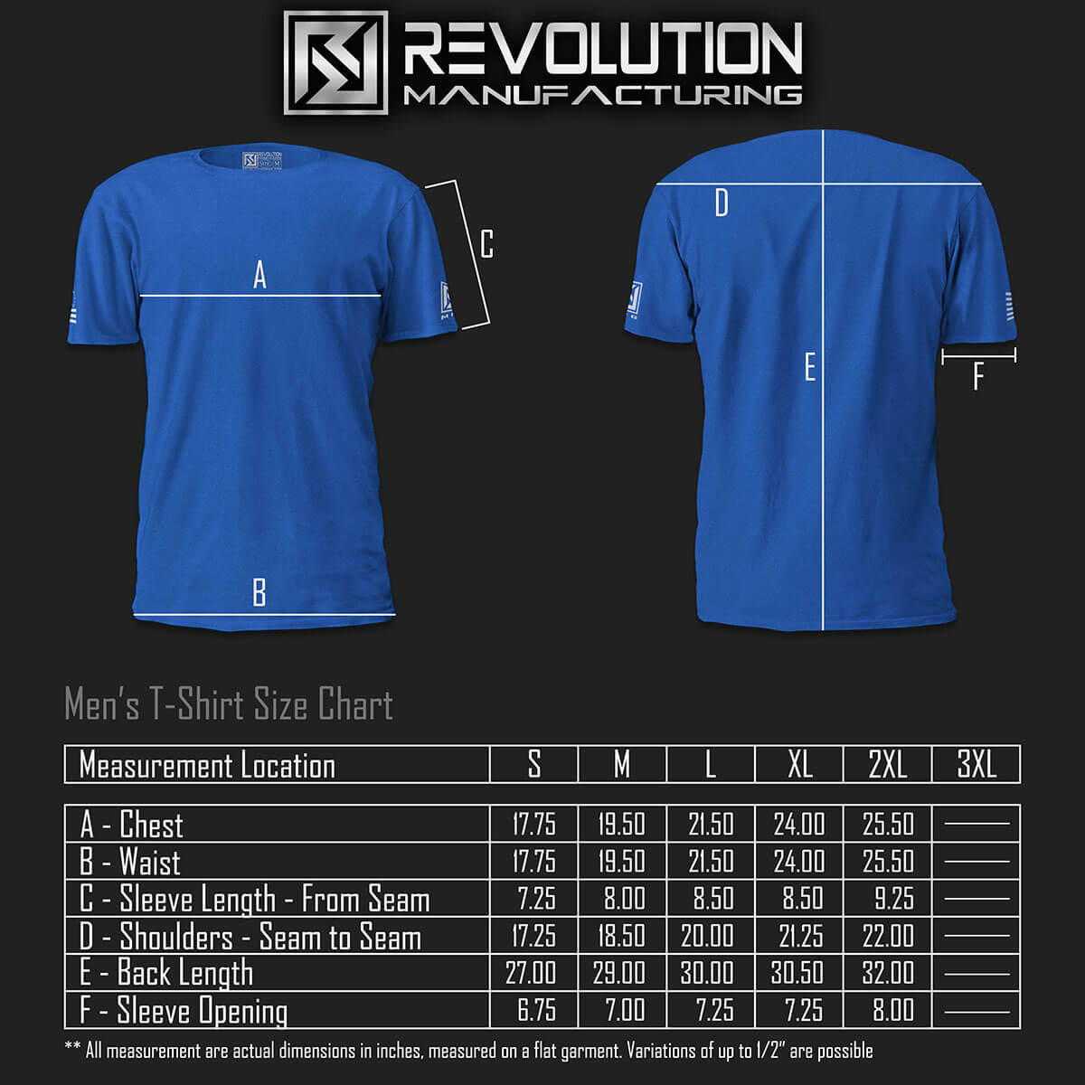 Revolution Manufacturing Made In Usa Men's Tee Sizing Chart