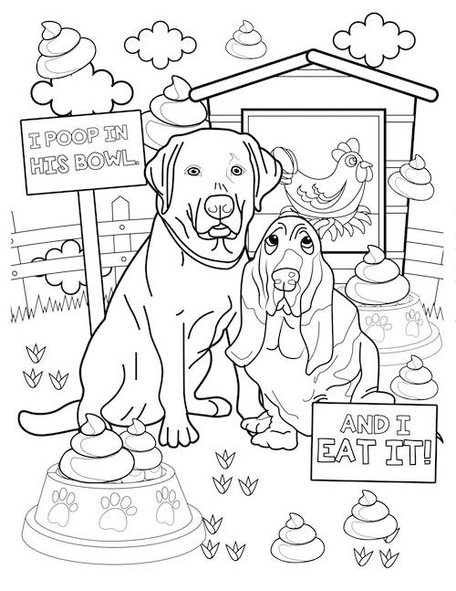 i poop in his bowl dog coloring page