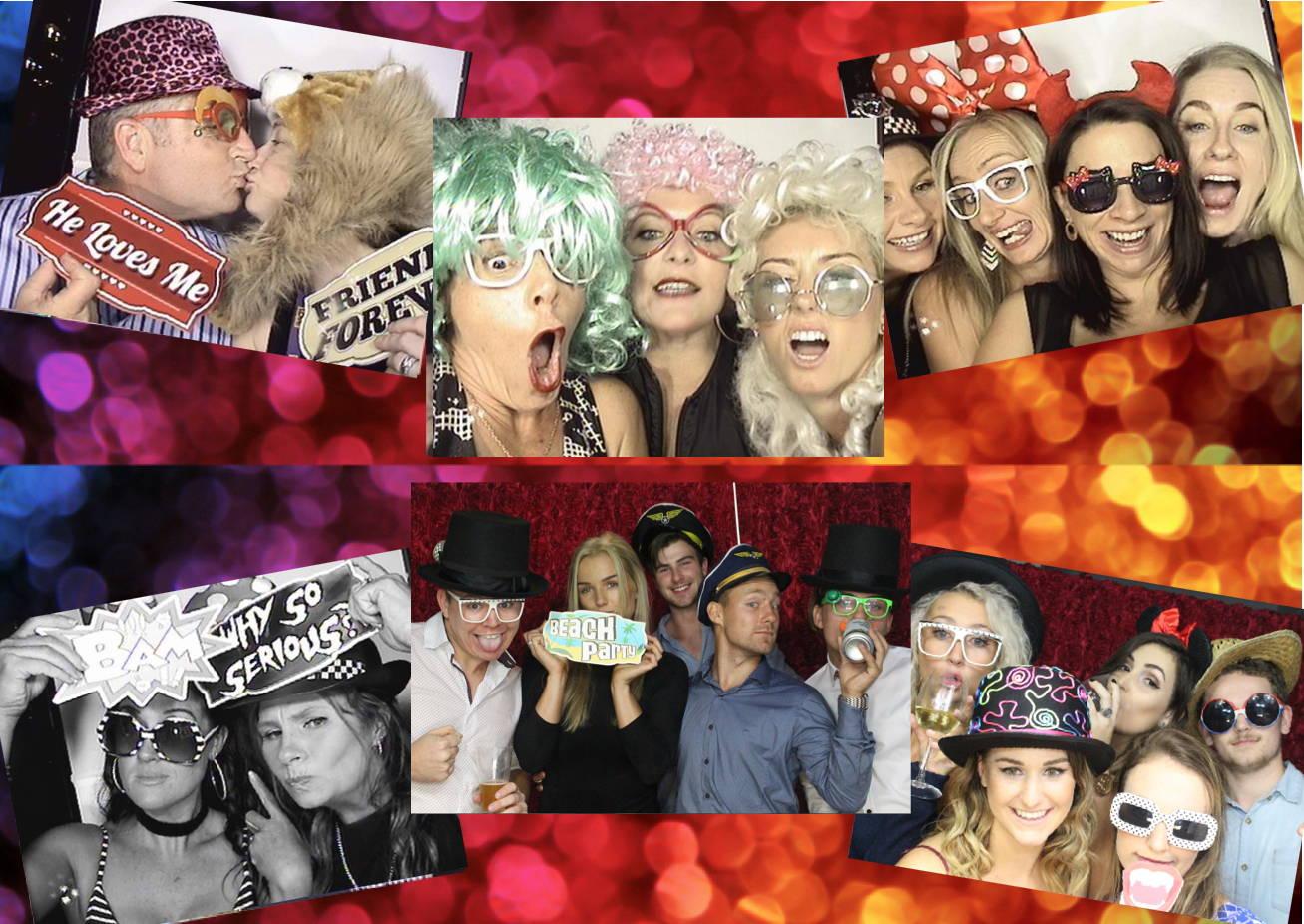 combination photo of people enjoying photobooth party