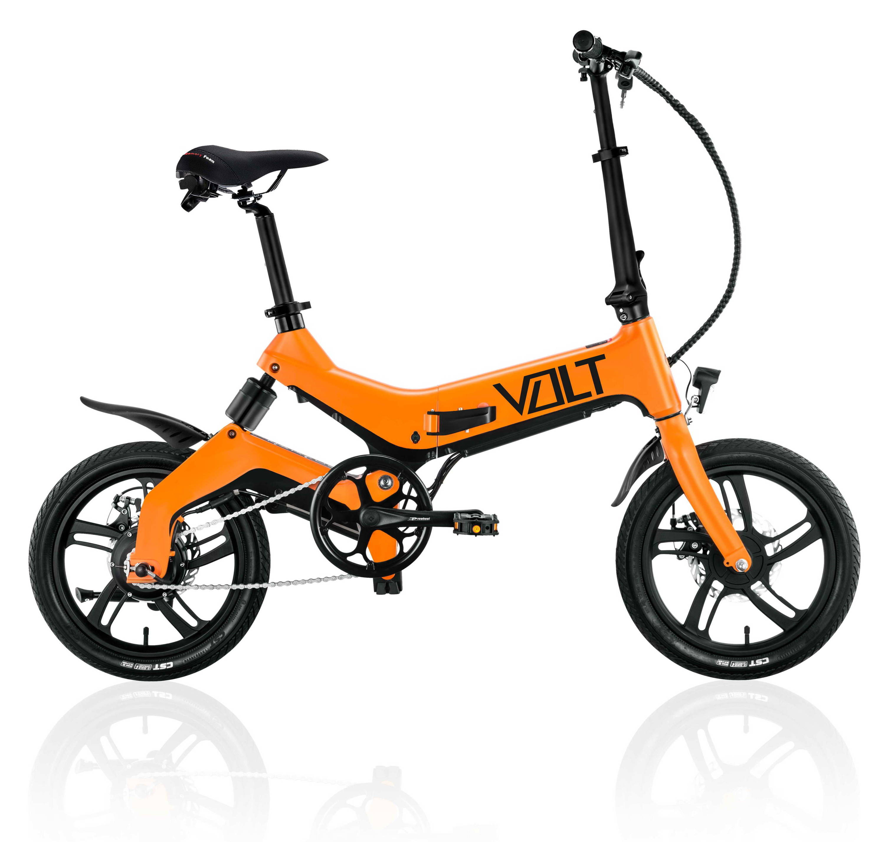 VOLT mate city electric bicycle, or Australian electric bike in hazard orange colour. VOLT makes smart electric bikes. Choose the best electric bikes for top value of money. Tough aluminum and magnesium alloy bike frame engineered for e-bike operation. VOLT Mate has city tyre with city tire threads for easy urban riding. VOLT makes the best electric bikes for Australia.