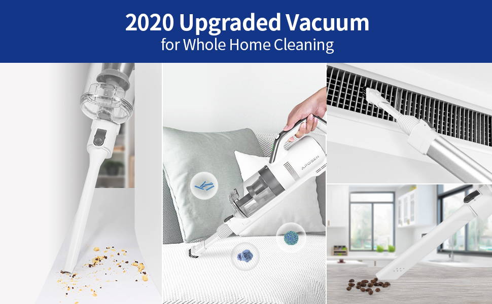 APOSEN 21Kpa Cordless Vacuum Cleaner Ultra-Lightweight & Quiet H21 is 2020 upgraded for whole home cleaning