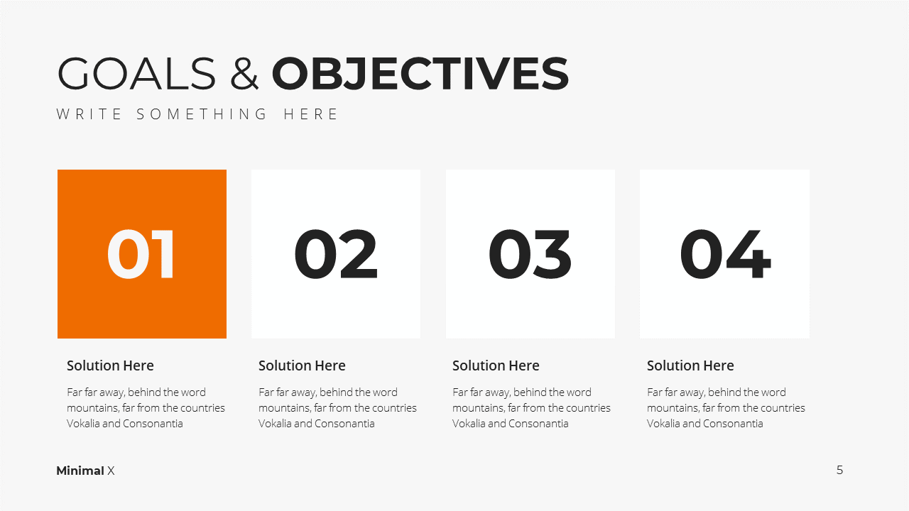 Modern X Marketing Plan Presentation Template Goals and Objectives