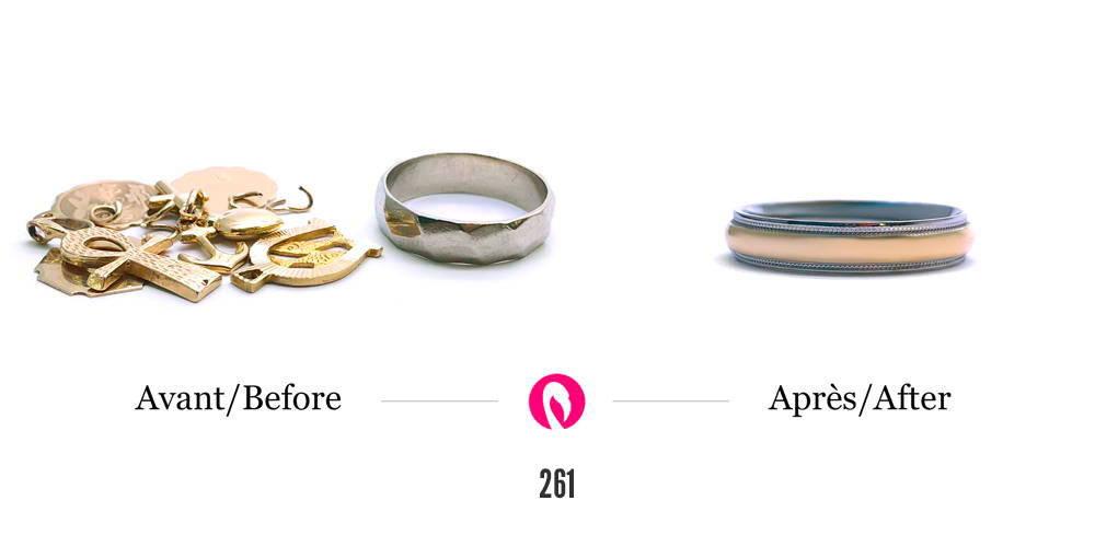 Transformation d'un amas d'or et ancien jonc de mariage en un jonc renouvelé deux couleurs