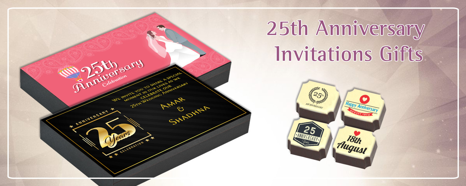 25th Wedding Anniversary Invitation Return Gifts Chococraft
