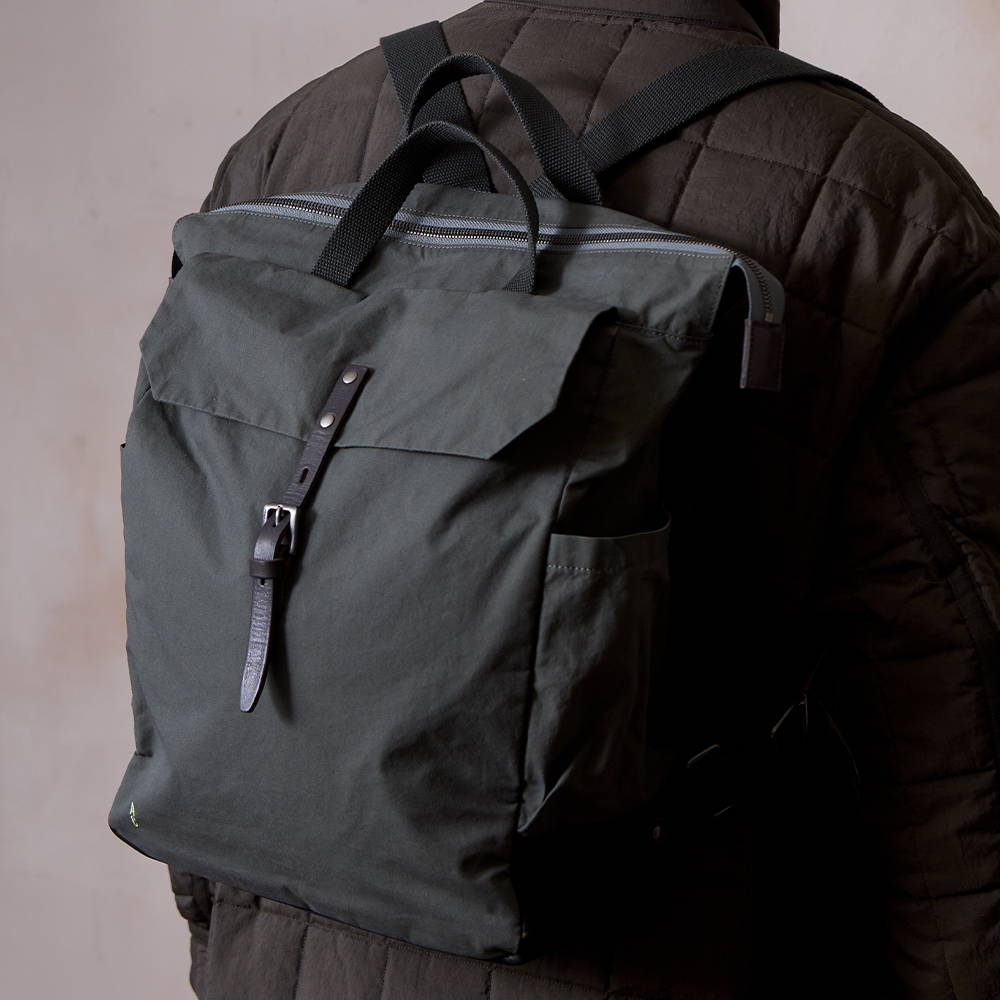 Ally Capellino Fin Waxed Cotton Backpack in Army Green