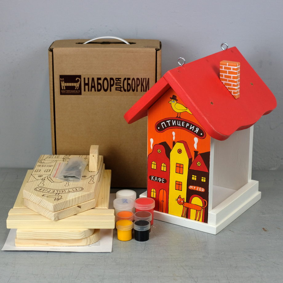 """Деревянный набор для сборки кормушки """"Птицерия"""" красный."""