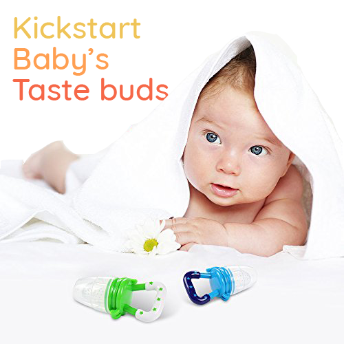 Baby wrapped in towel with two SuperTots food pacifiers
