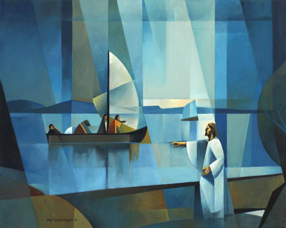 Modern LDS art painting of Christ calling out the apostles from the shore.