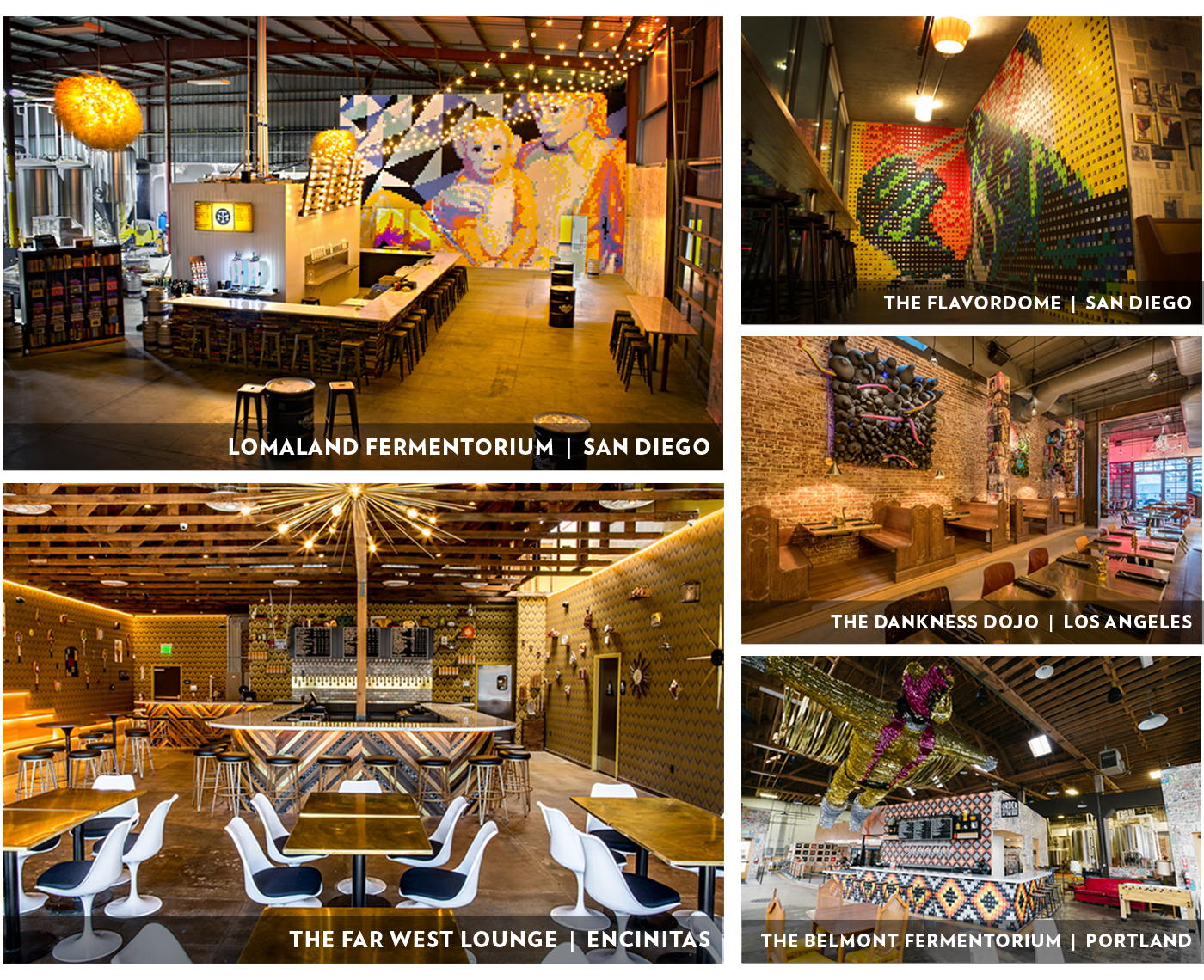 Our five current tasting rooms.