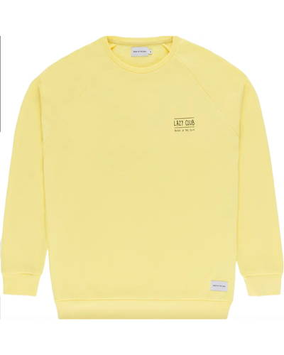 Front of yellow organic cotton sweatshirt from sustainable menswear brand Bask In The Sun
