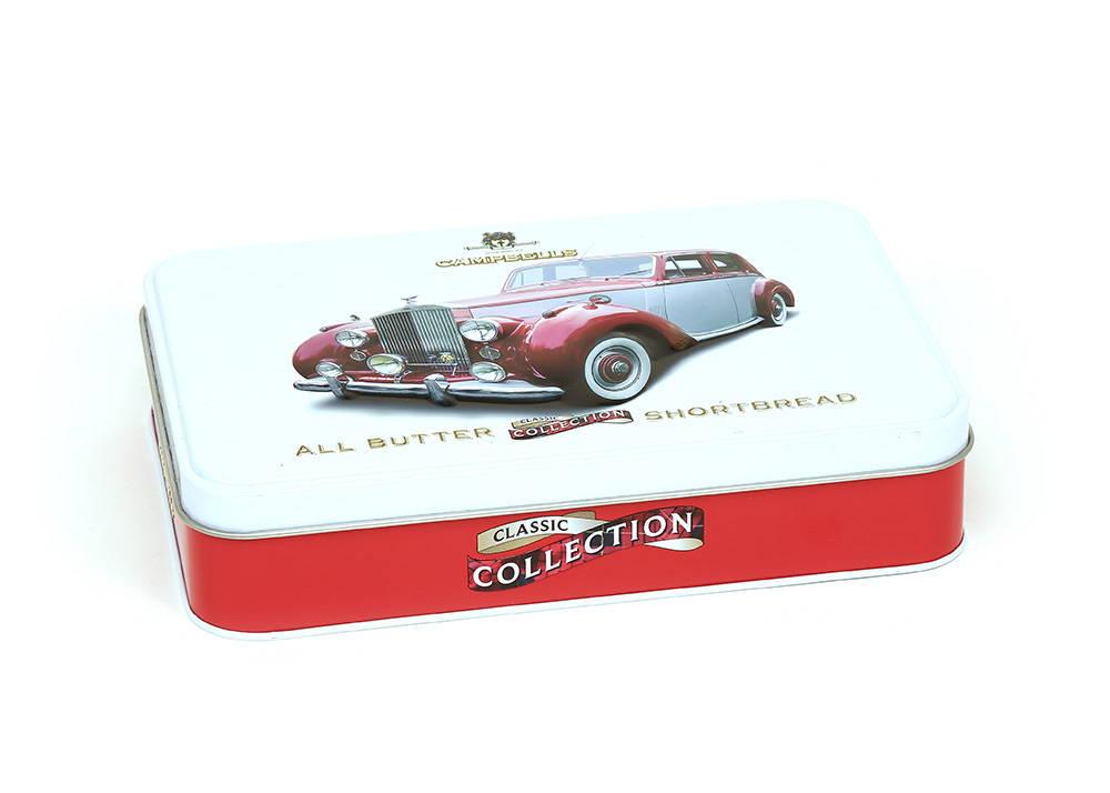 Bespoke Campbells tin with 3D car emboss